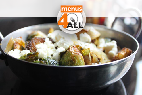 Pan seared brussel sprouts with feta cheese.